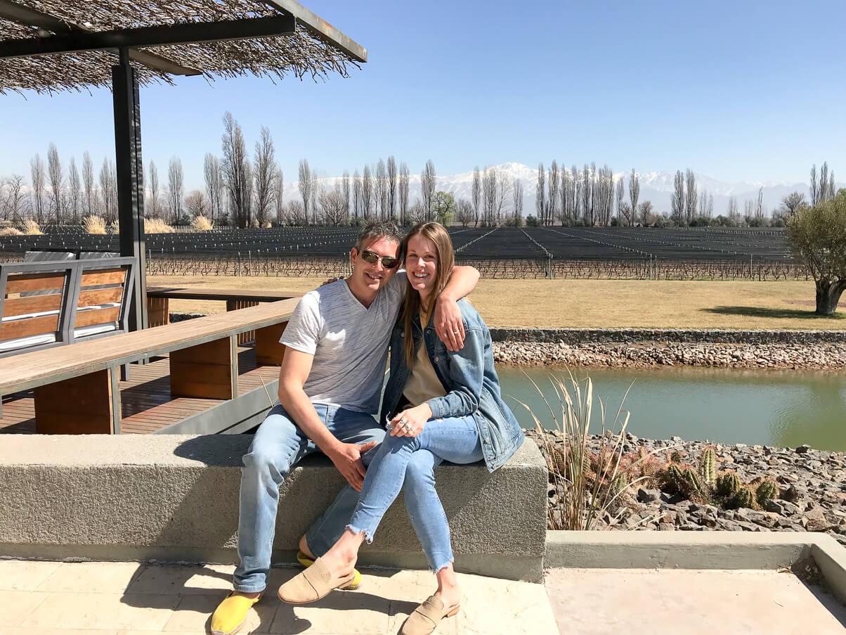 Sitting outside at the Melipal vineyard Mendoza
