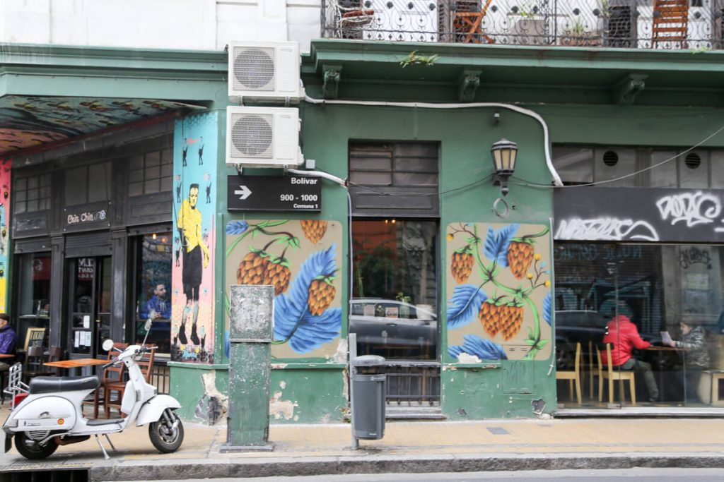 A colorful street corner in San Telmo Buenos Aires