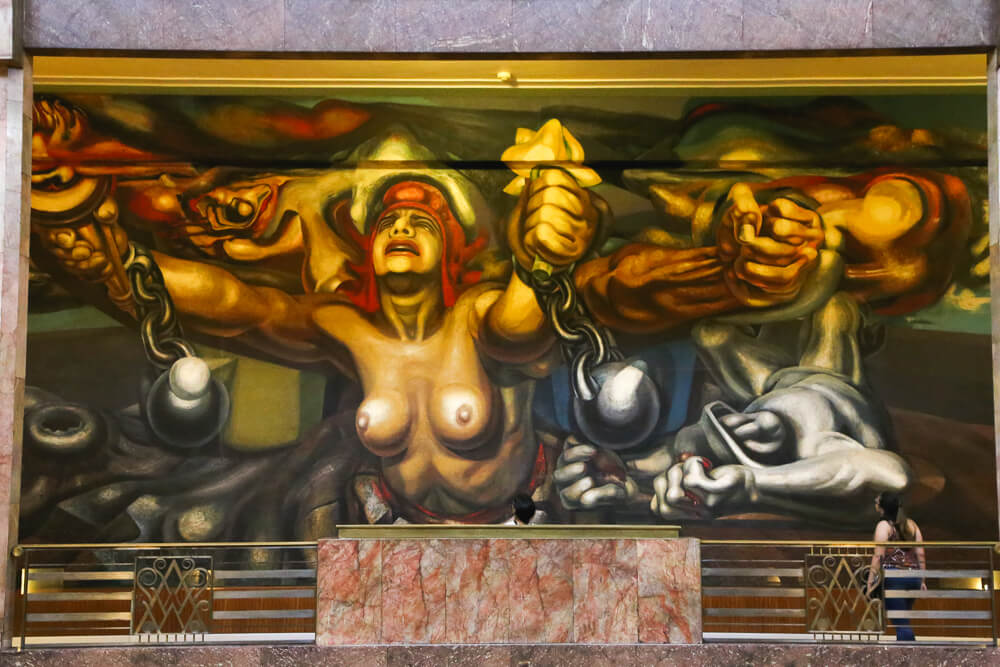 Siqueiros mural in Mexico City Bellas Artes