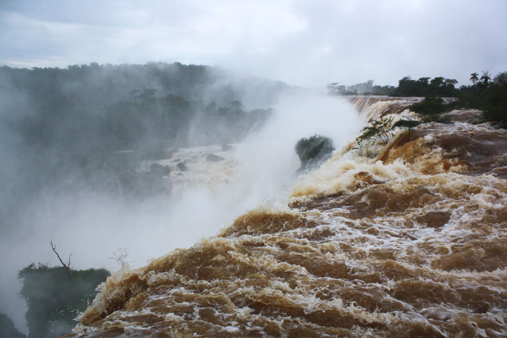 Flooded Iguazu falls in Argentina