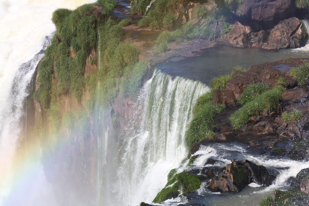 A rainbow in the mist of Iguazu Falls