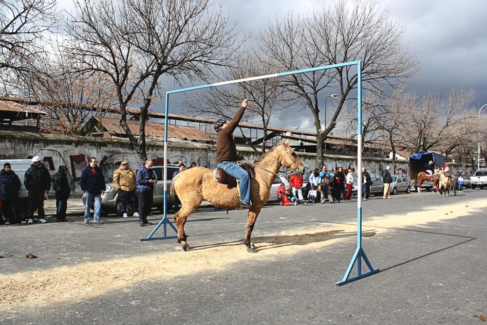 Gauchos on horses at the feria de mataderos