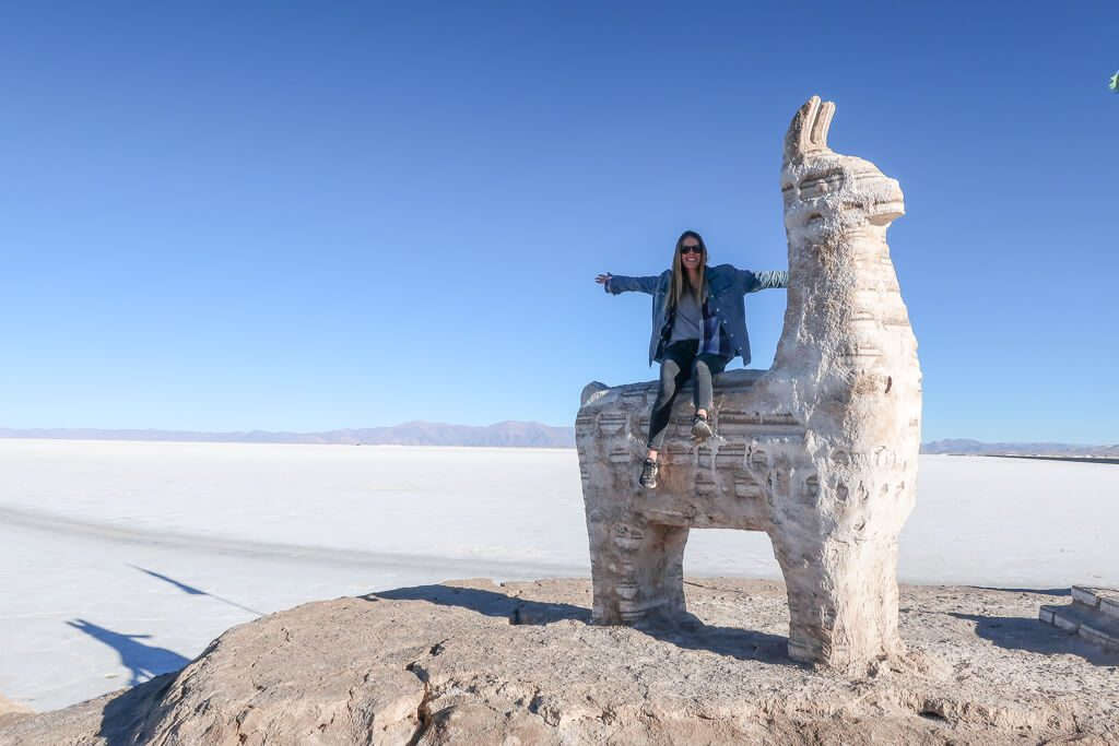 The llama statue made out of salt in the salt flats