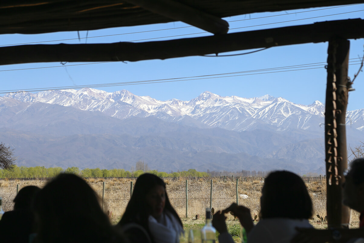 View of the Andes Mountains from where to eat in Mendoza