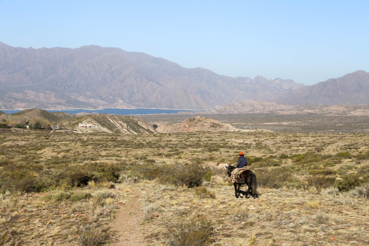 Riding horses in Mendoza in the small mountain town of Potrerillos