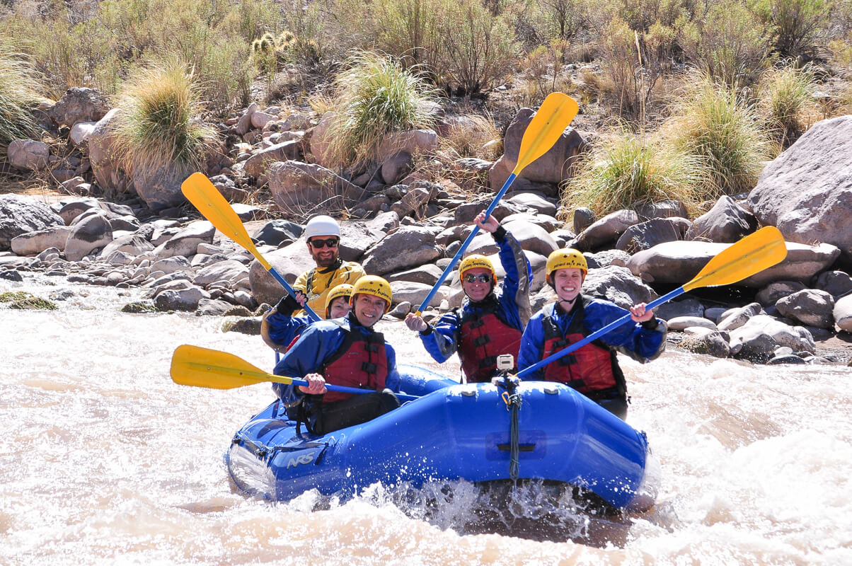 The tour group rafting Mendoza