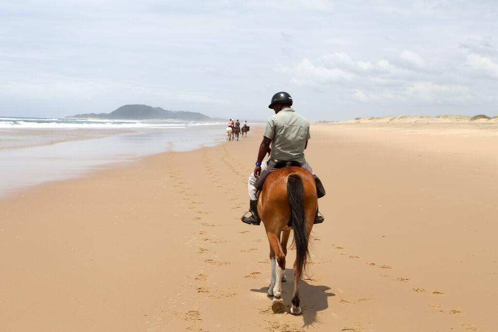 Horseback ride on the beach in Isimangaliso wetland park