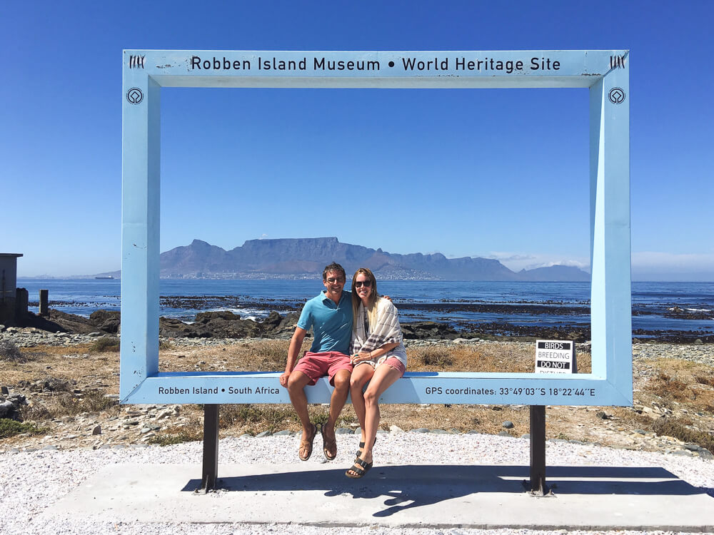 The view of Table Mountain from Robben Island in Cape Town