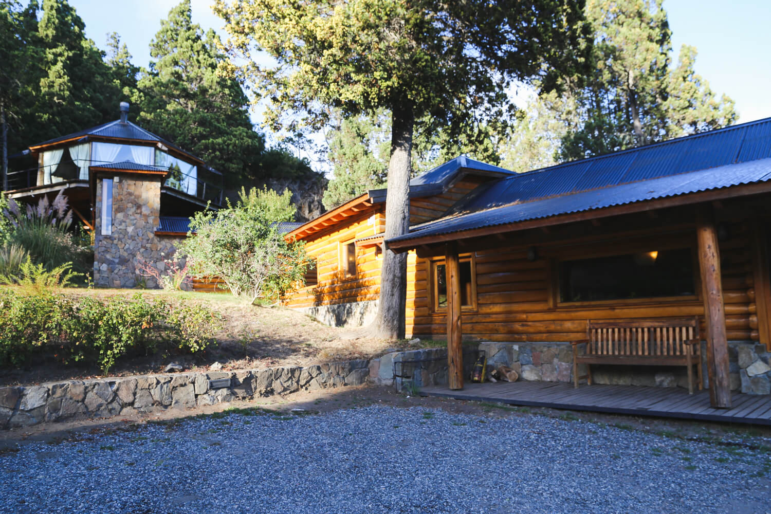 A log cabin in the woods at one of the best San Martin de los Andes hotels
