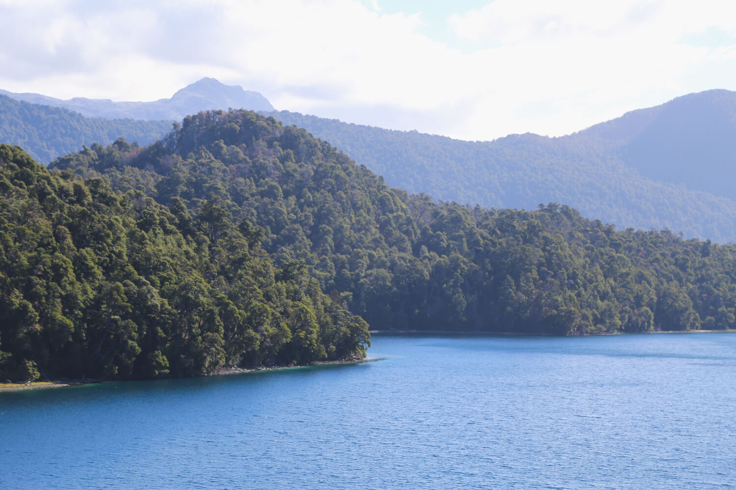 A green forested mouontain descends down to the shores of a lake in san martin de los andes argentina