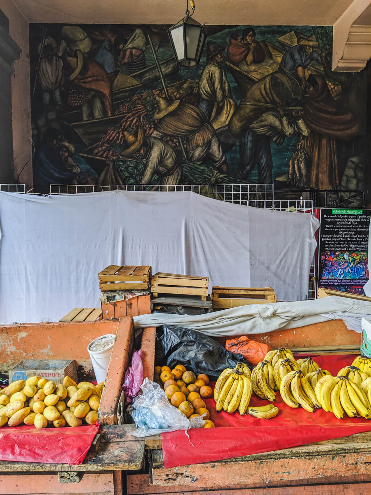 A mural painted by a student of Diego Rivera in a small city market