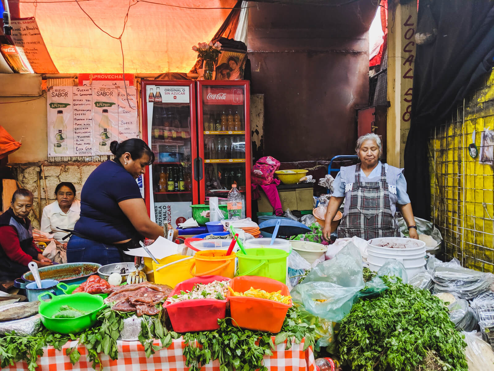 A Mexico City market tour stops at a lunch stand with two women selling herbs and quesadillas
