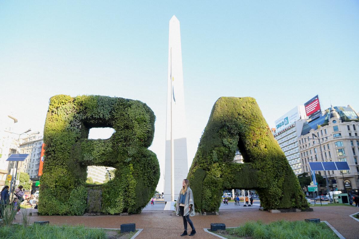 The obelisk in Buenos Aires 9 de Julio Avenue
