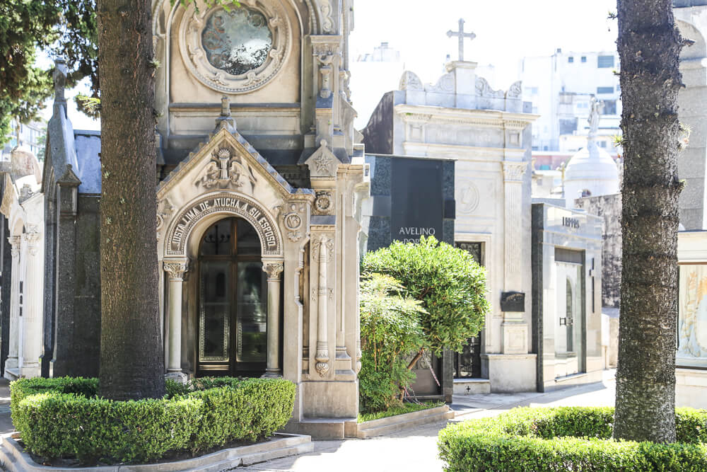 Stone mausoleums and tombs in the Recoleta Cemetery, Buenos Aires