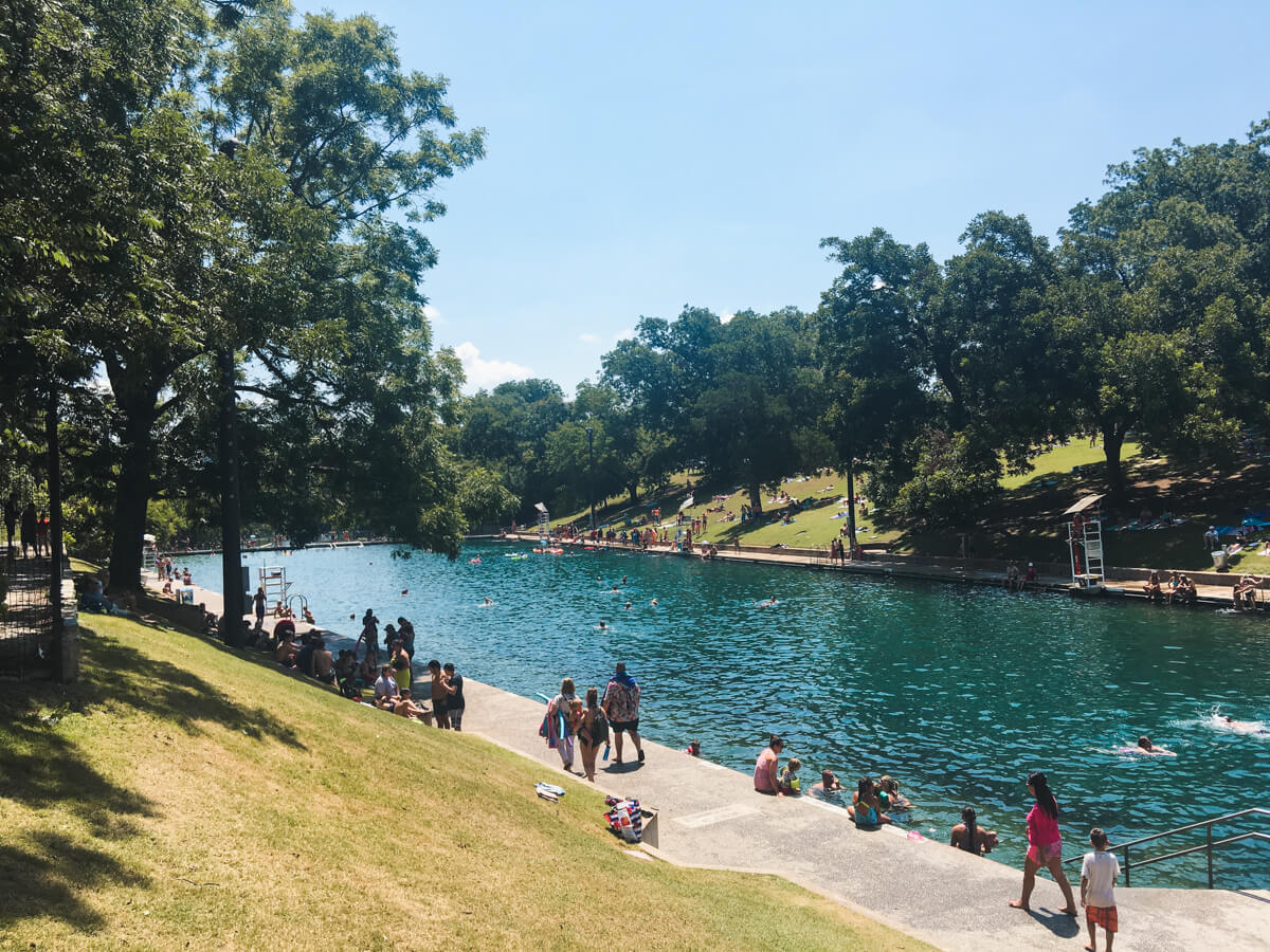 The spring-fed pool at Barton Springs in Austin Texas