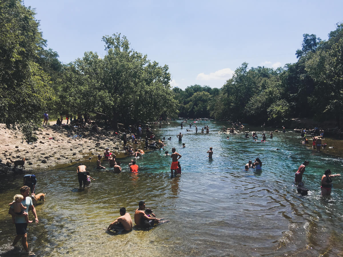 Barton Creek just outside Barton Springs not far from where you can rent paddle boards and canoes