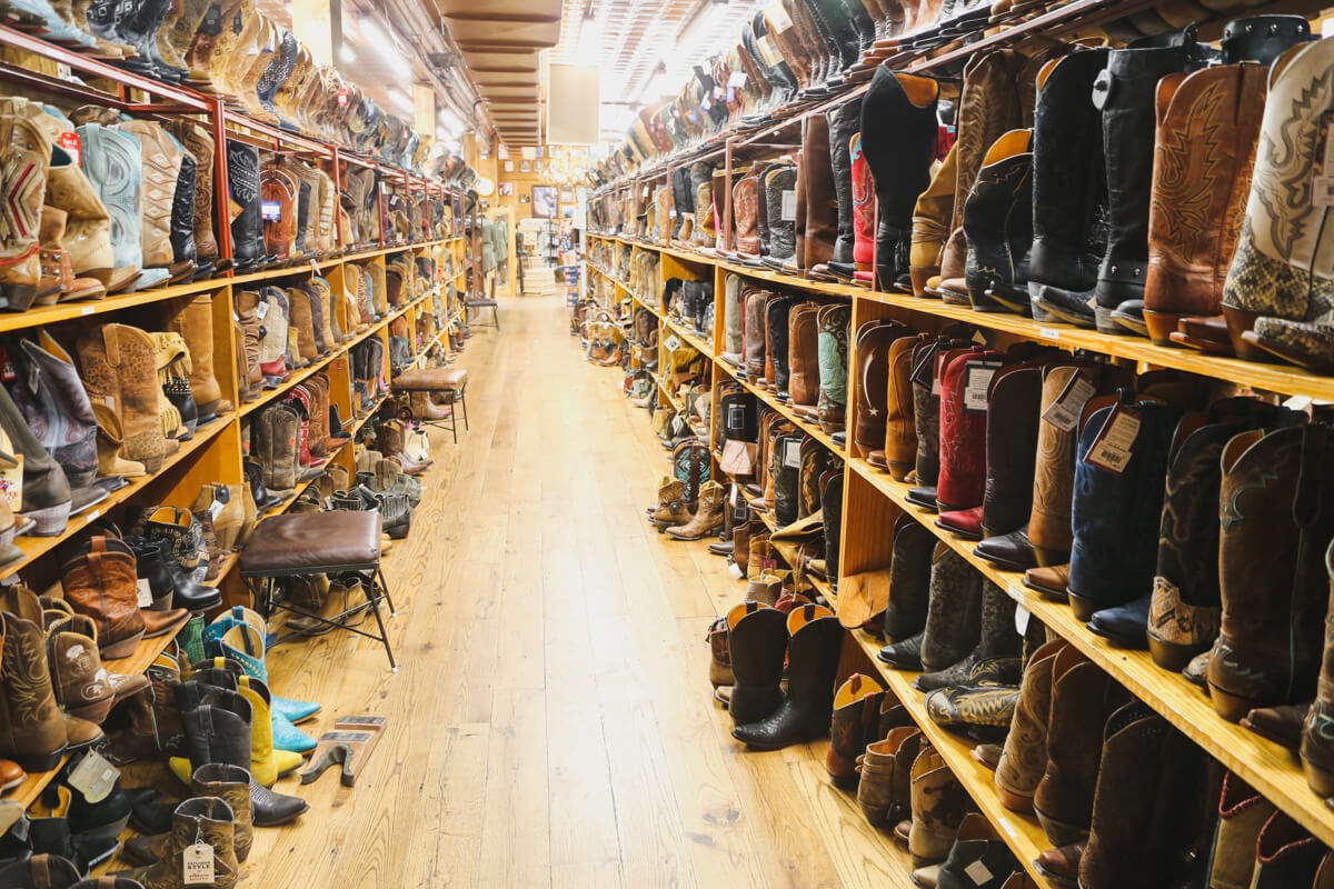 Shelves and shelves of cowboy boots in Allen's Boots on South Congress in Austin Texas