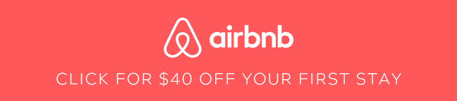 A pink banner displays the Airbnb logo and an offer for a $40 coupon off your first stay
