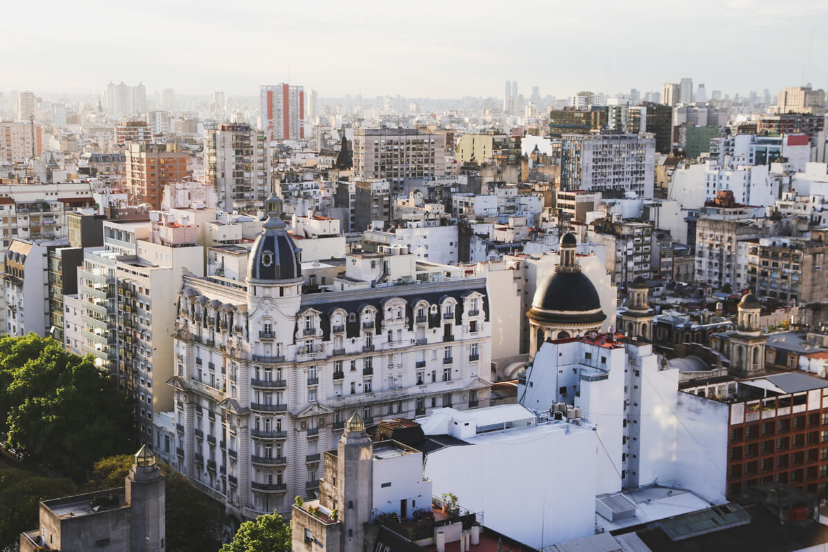 A panoramic view of Buenos Aires from above