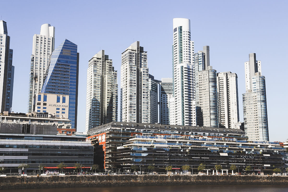 The skyscrapers in Puerto Madero house luxury hotels and apartment complexes. You can see the Alvear Icon hotel here on the left.