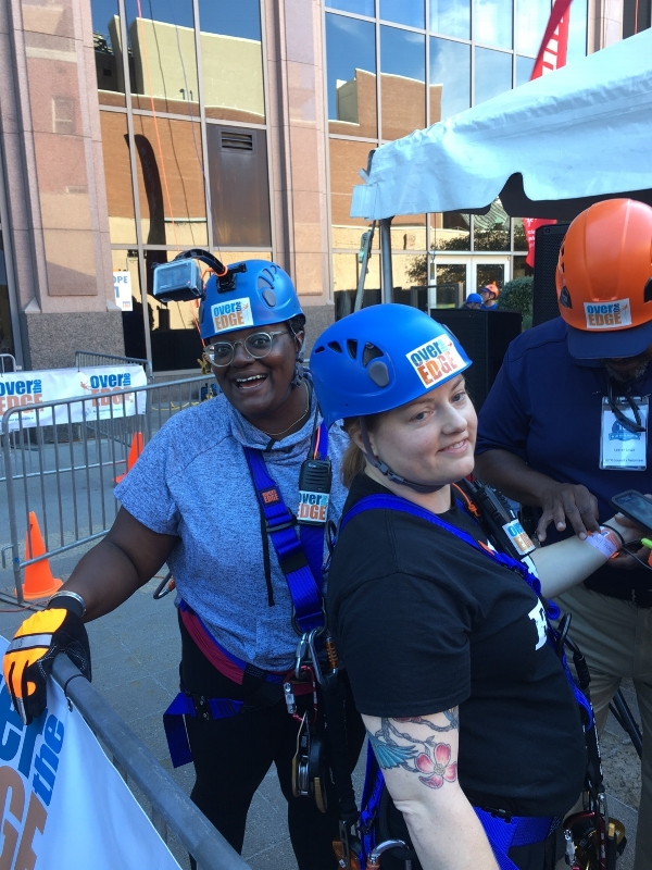 Erica Porter (left) and Rachel Thomas (right) participating in Over the Edge.