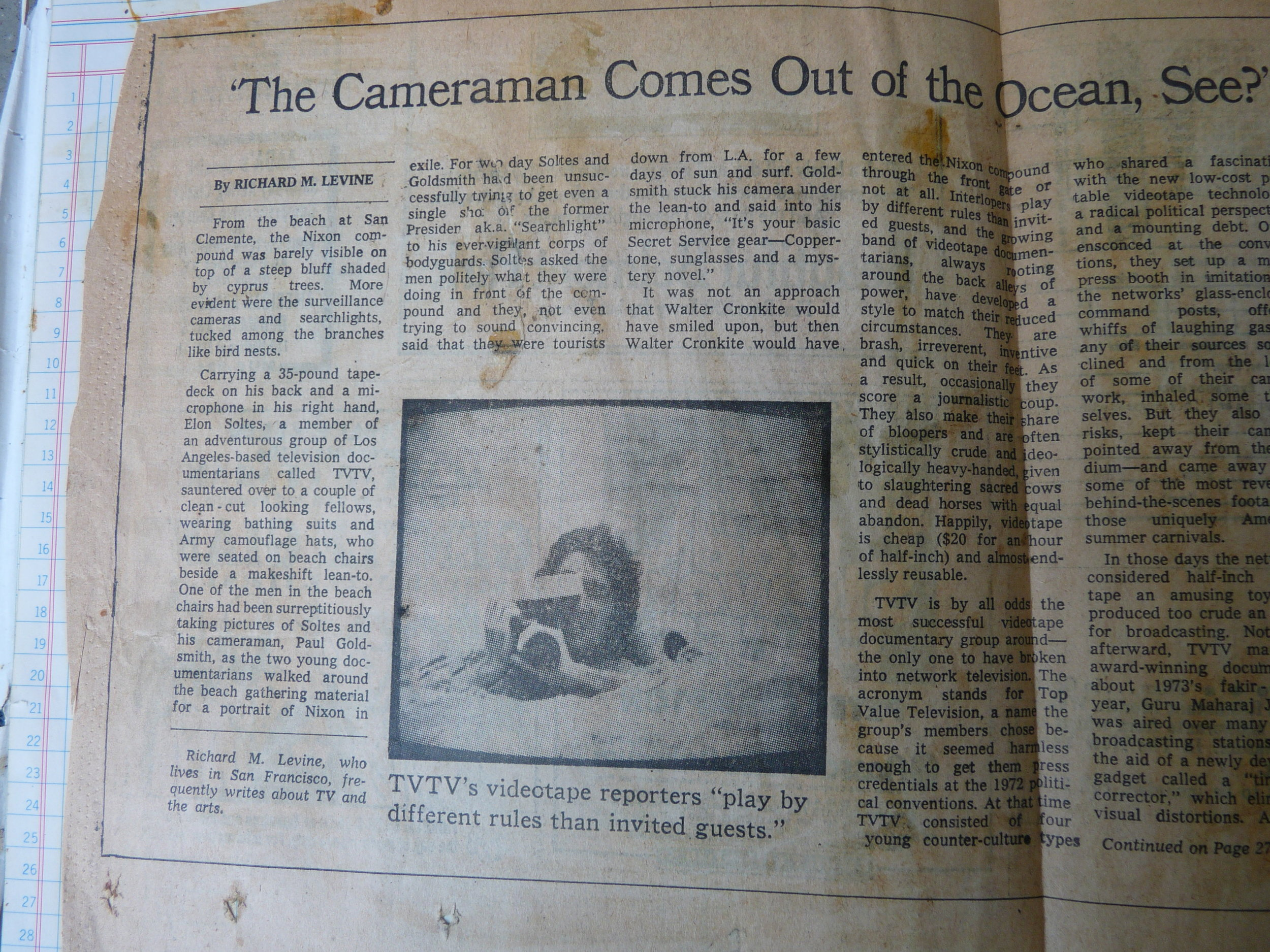 NYTimes article about TVTV. We had gone down to San Clemente to try to ambush ex-president Nixon (he had just resigned and fled west).
