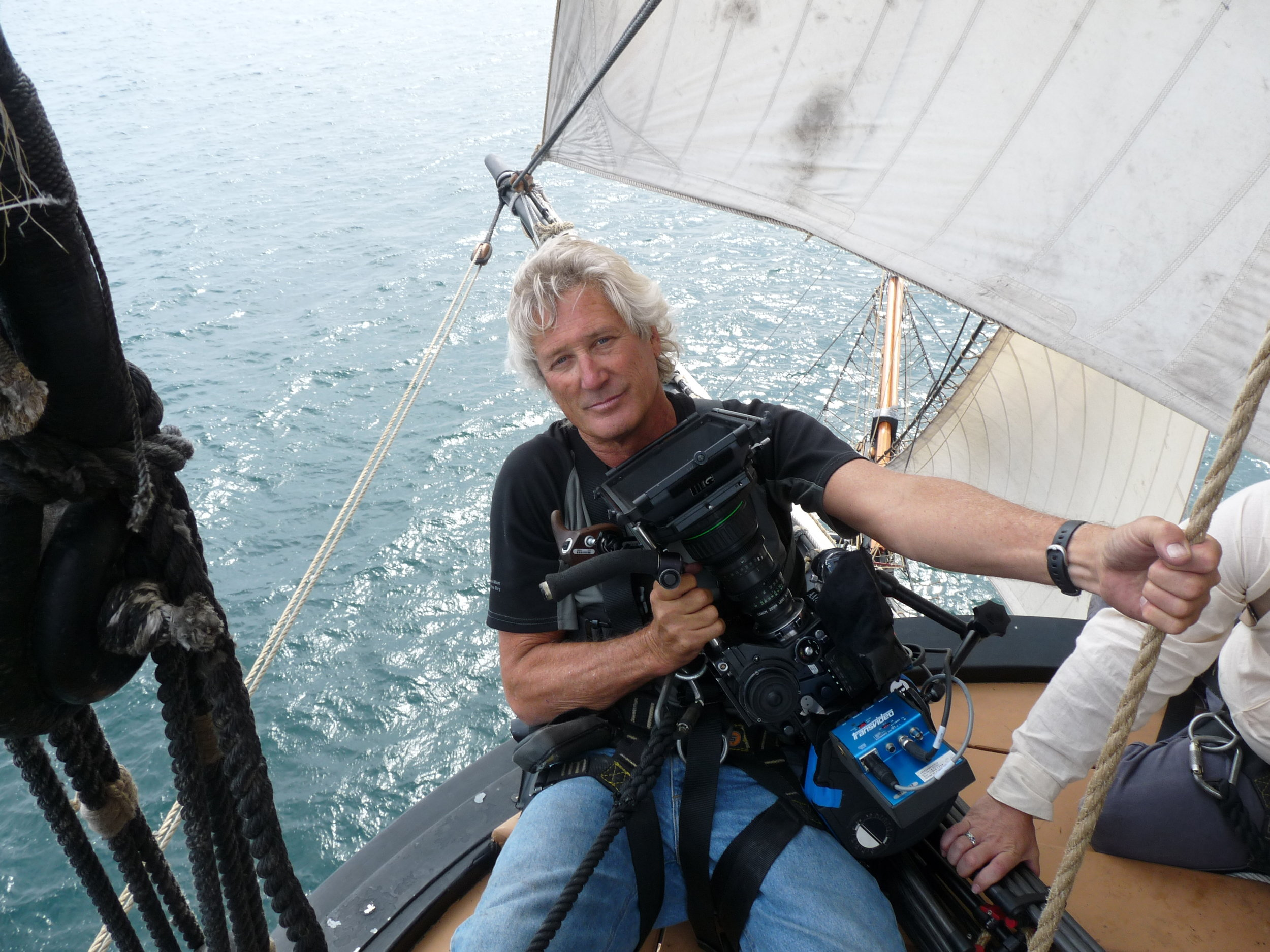My last job shooting film (not tape or digital). Fittingly, I'm up in the rigging of an ancient square rigger which has always been my metaphor for film versus digital. Making INTO THE DEEP, WHALING AND THE WORLD for Ric Burns.