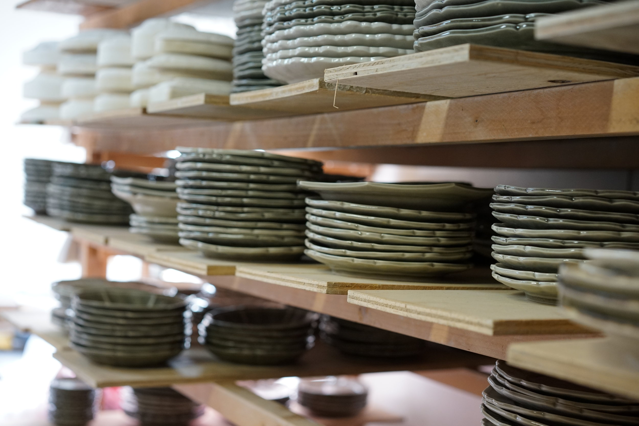 Shelves filled with motif plates