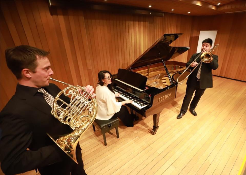 Eun Seong Hong, John Dodge and Matias Tapia performed  Suite for Horn, Trombone and Piano  in Providencia, Chile