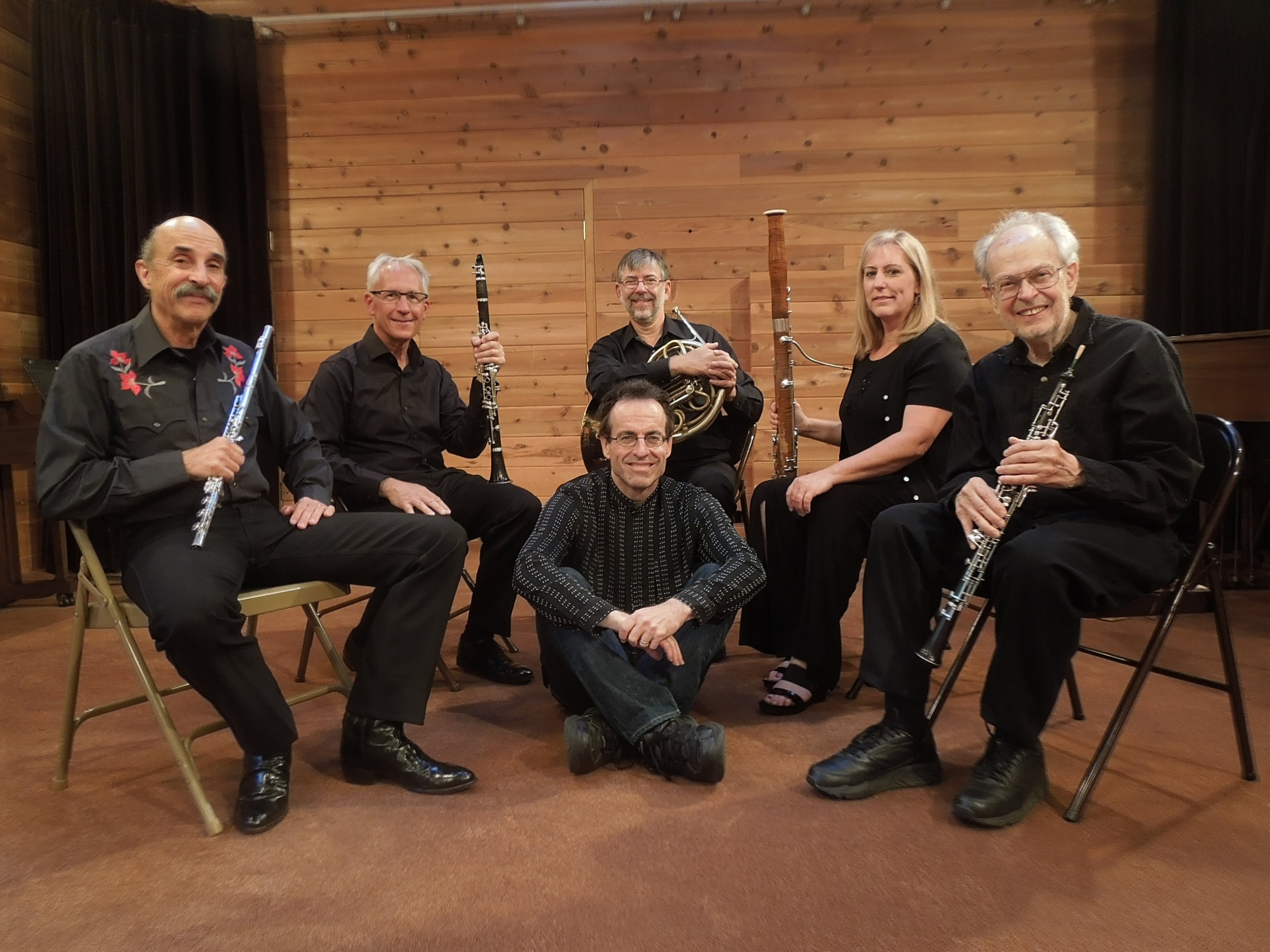 Stark with the Westwood Wind Quintet after a performance of  Americana Wind Quintet  in Camas, Washington