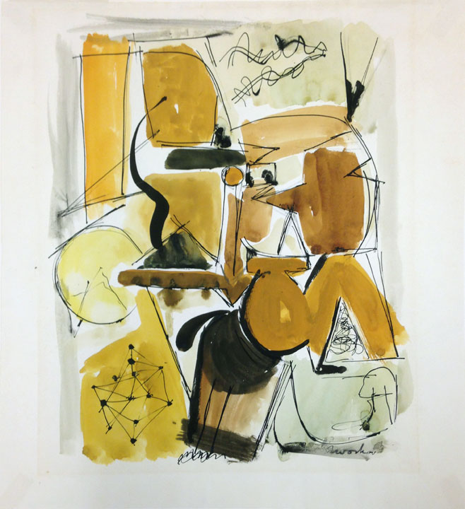 "JACK TWORKOV ""Untitled (Abstract Forms),"" c.1948-50 - Graphite and watercolor with ink on paper, 19-3/4 x 18 in. (50.2 x 45.7 cm) Collection of Solomon R. Guggenheim, New York, New York. Gift of Walter K. Gutman (67.1852)"