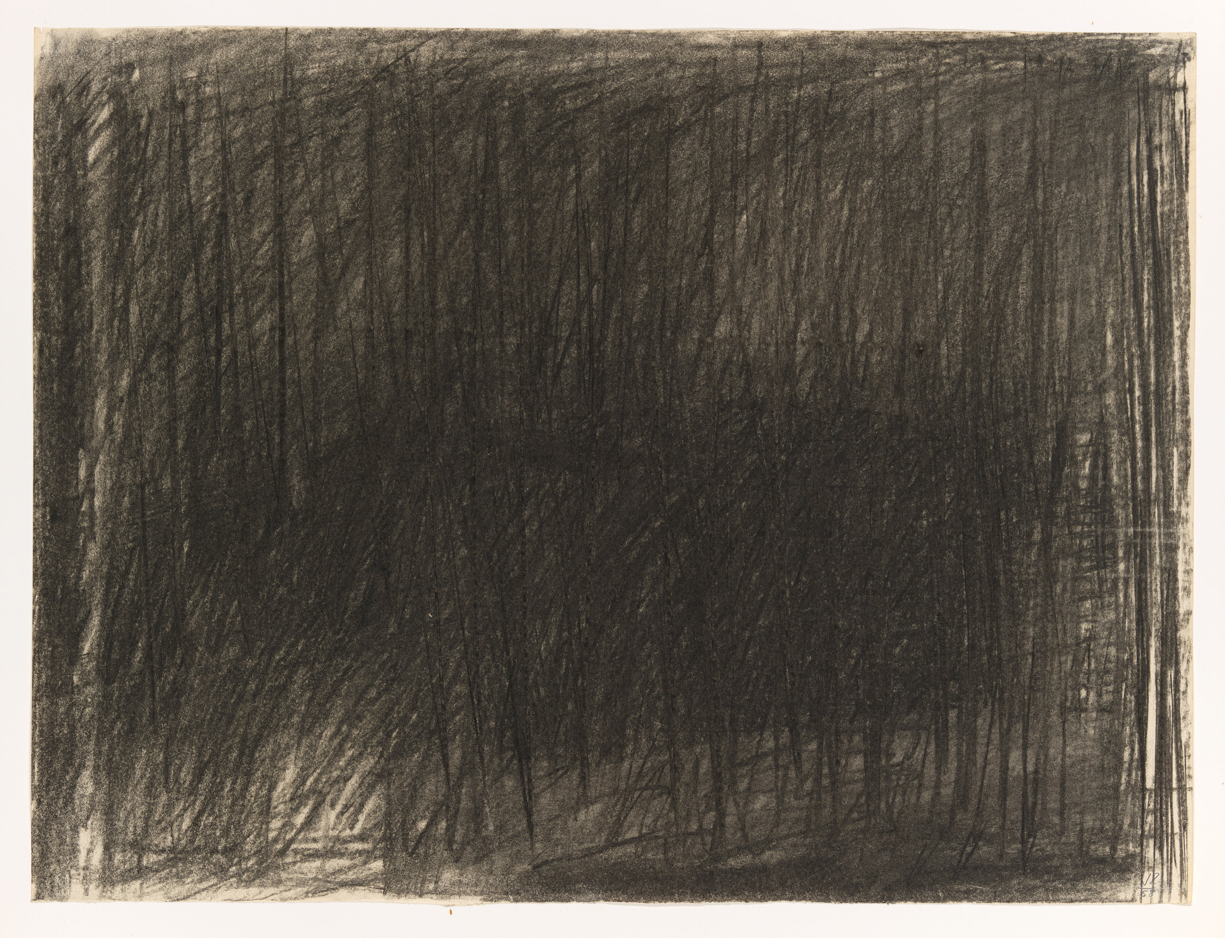 """Jack Tworkov (1900-1982)  Study for """"Trace""""  (CR999), 1958, Charcoal on paper, 18 1/16 x 24 1/16 in. (45.9 x 61.1 cm) (CR 999) Collection of the Whitney Museum of American Art, New York. Purchase, with funds from the 1960-61 Friends Acquisitions Committee (61.19)"""
