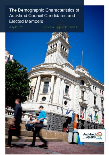 The demographic characteristics of Auckland Council candidates and elected members - Author: Jesse Allpress, Brian OsborneSource: Auckland Council Research and Evaluation UnitPublication date: 2017This report presents a summary of the demographic characteristics of 2016 Auckland Council election candidates, as well as a comparison between candidates and the Auckland adult population (aged 18 years and older).The analysis shows that, for the 2016 Auckland Council election:- Female candidates were underrepresented within the total candidate pool. A higher percentage of female candidates were elected than male candidates, however, resulting in a representative balance of male and female elected members.- The age distribution of candidates tended to be skewed toward older age groups compared to that of the Auckland adult population. Three-quarters (76%) of all candidates were aged 45 years and over, compared to just under half (48%) for the Auckland adult population.- European candidates were overrepresented within the total candidate pool (76% of all candidates identified as European, compared to 60% of the Auckland adult population). Māori and Pacific Peoples were represented at a similar rate to the Auckland population and Asian candidates were notably underrepresented in the total candidate pool. The latter three broad ethnicity groups were elected at lower rates than European candidates, resulting in an underrepresentation of all three groups amongst elected candidates.- Candidates were more likely to be born in New Zealand than the Auckland adult population, with 75 per cent of candidates born in New Zealand, compared to 54 per cent of the Auckland adult population.- Almost one third (29%) of candidates were able to hold a conversation in at least one language other than English. This percentage was somewhat lower amongst elected members (18%). Candidates reported being able to speak a range of languages, with English (100%), Māori (5%), Samoan (5%) and Hindi (3%)