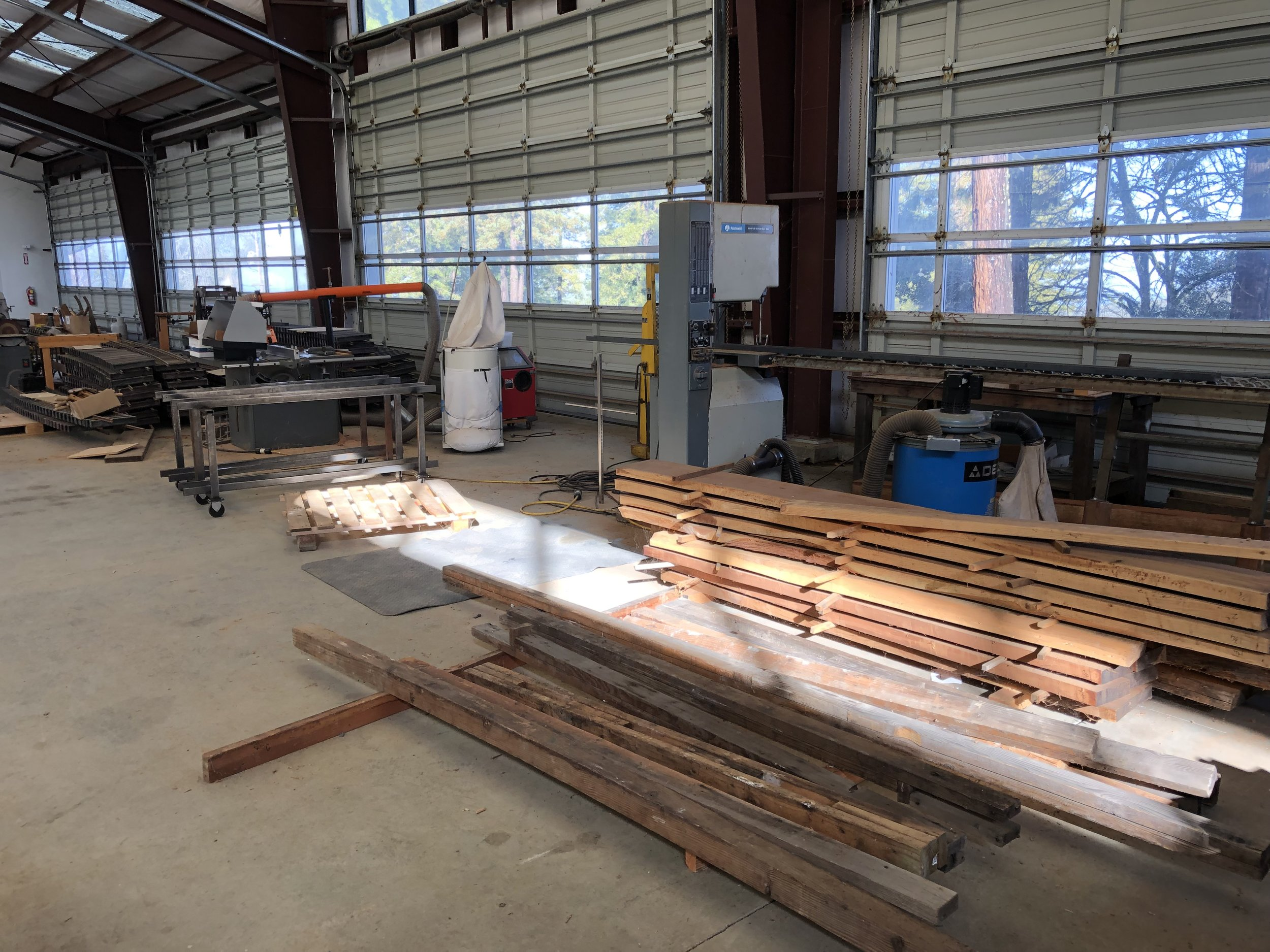 Wood fabrication with drying redwood slabs