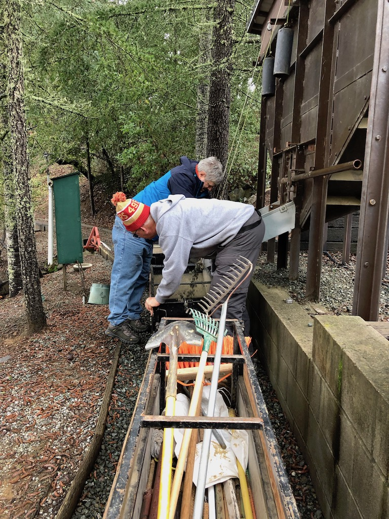 Russ & Don load ballast destined for the Schmidt car barn's apron