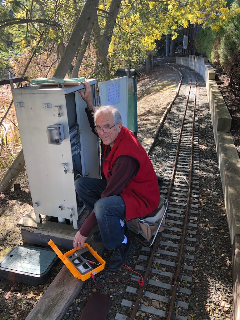 Lance works on the Main Yard's signal system