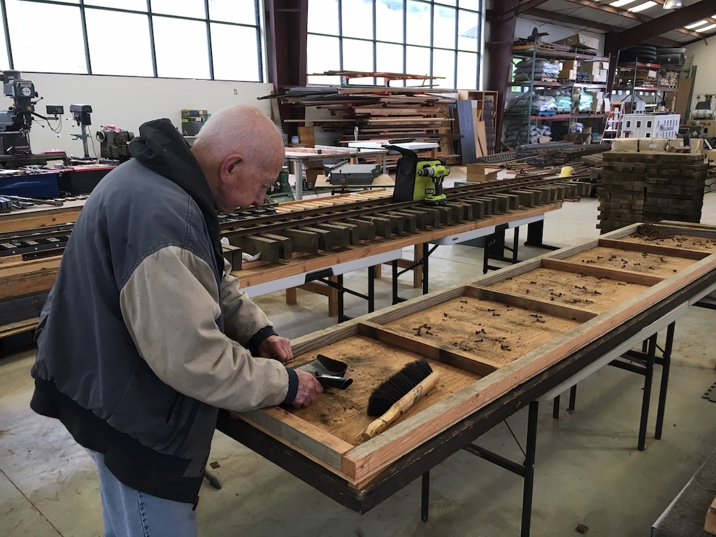 Rene continues to take apart old trackpanels to salvage rail