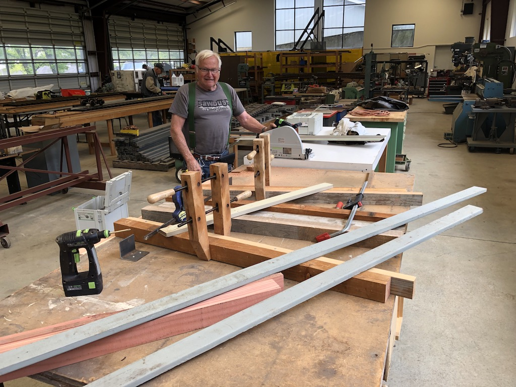 Mike works on the second Lumber Camp trestle bent