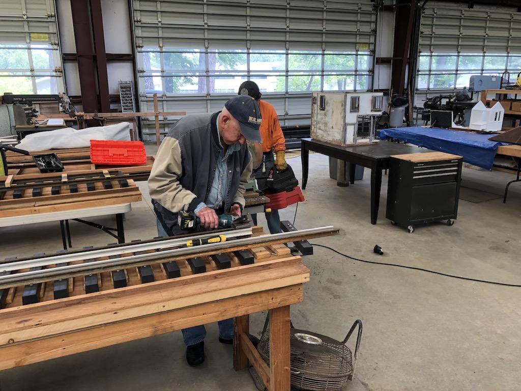 Rene working on Lumber Camp Bridge track panels