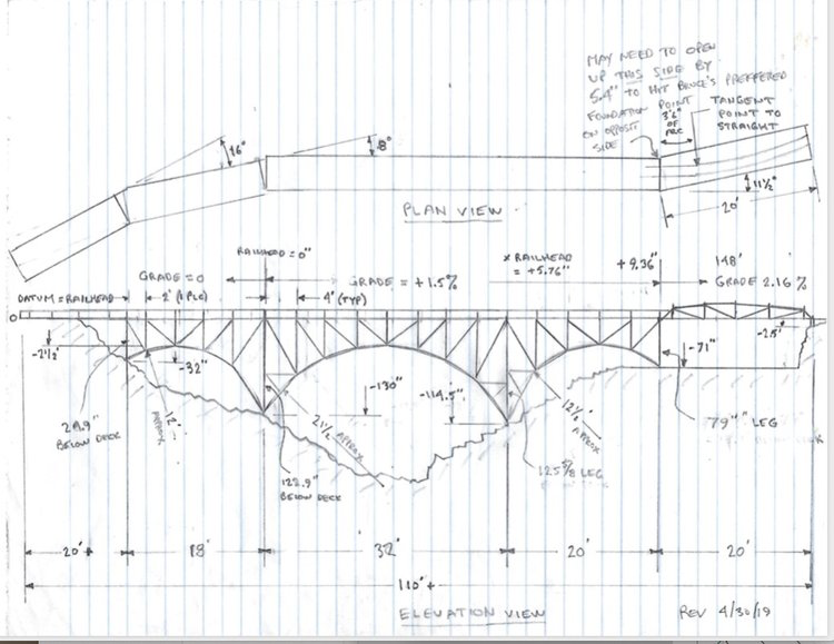 Elevation drawing of the Lumber Camp Bridge