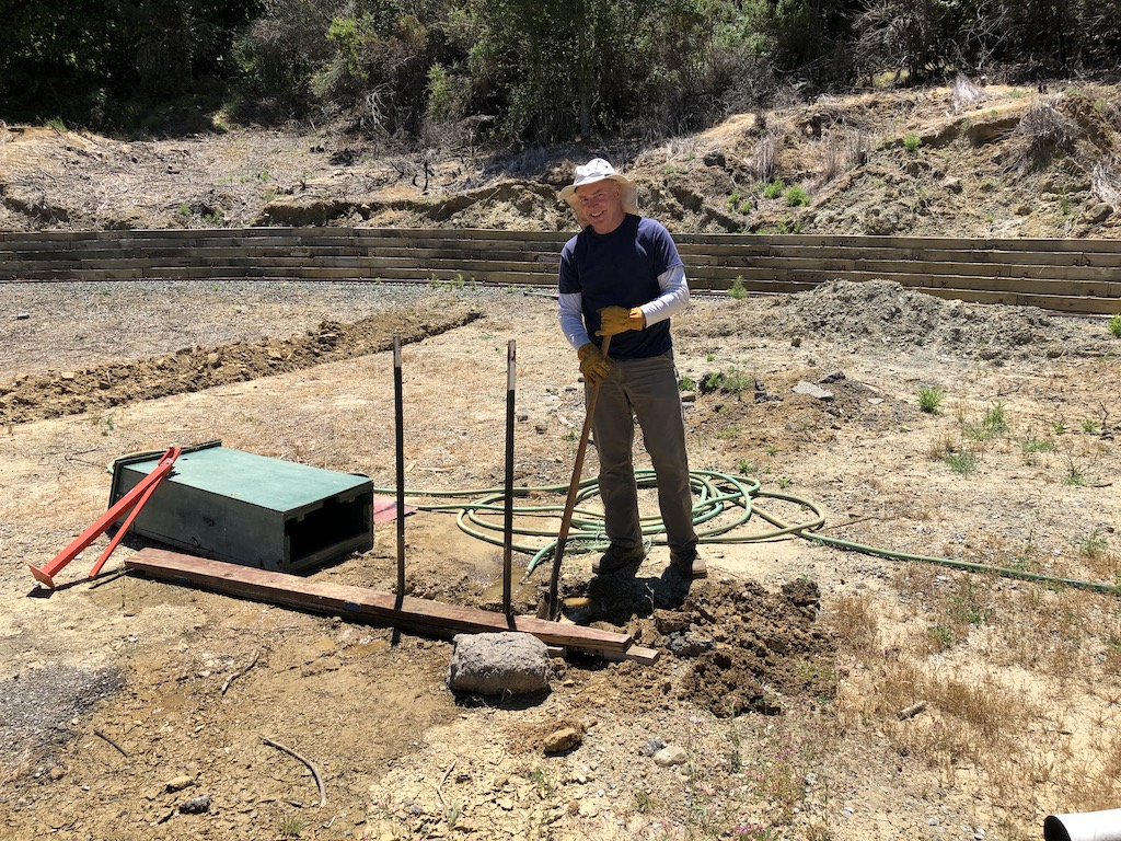 Later, Bruce removed the sprinkler box at Rabbit Flat. Those support posts are anchored in bedrock however would not come out