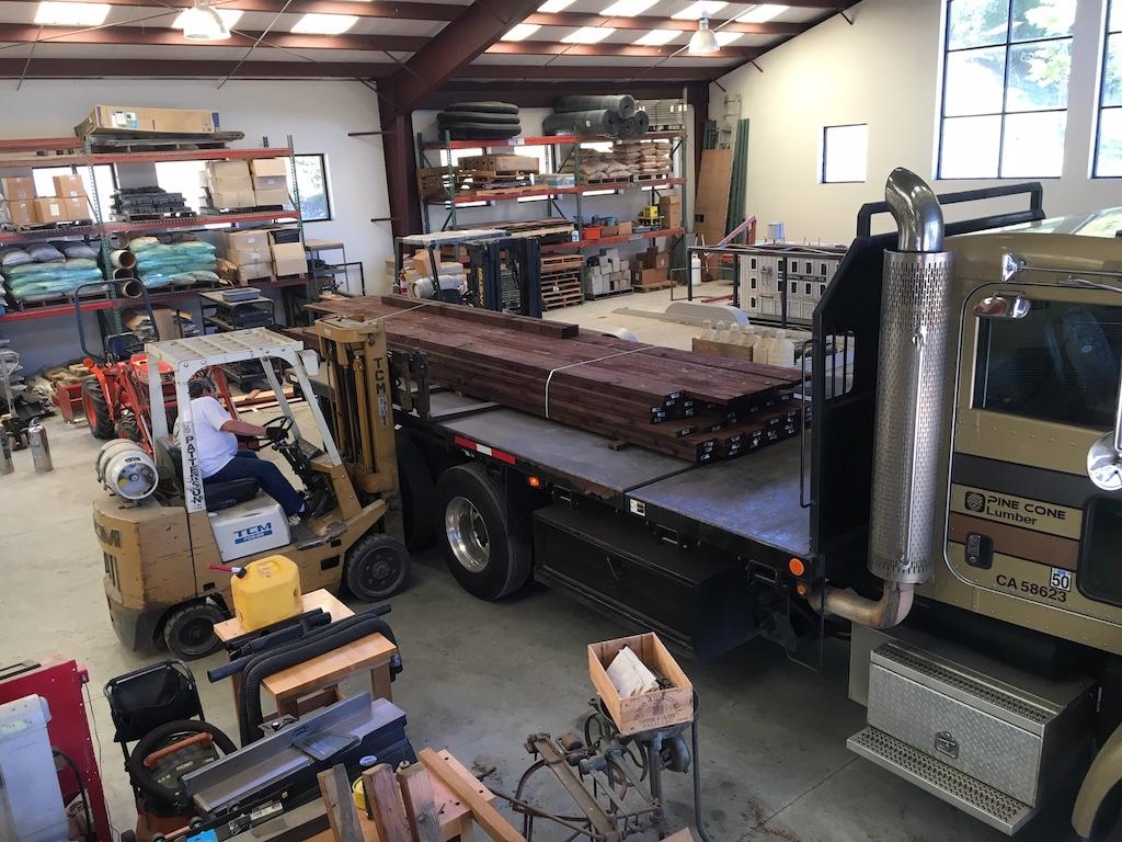PT for the Lumber Camp Bridge deck arrives