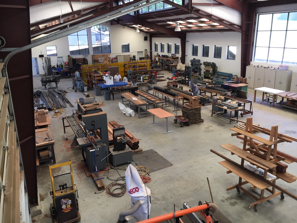 A birds eye view of the business end of the shop