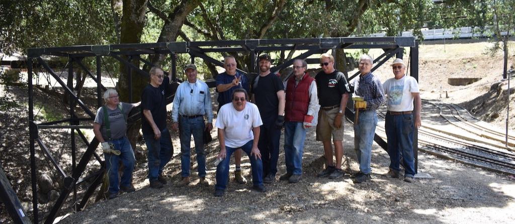 Bridge installation team celebrates