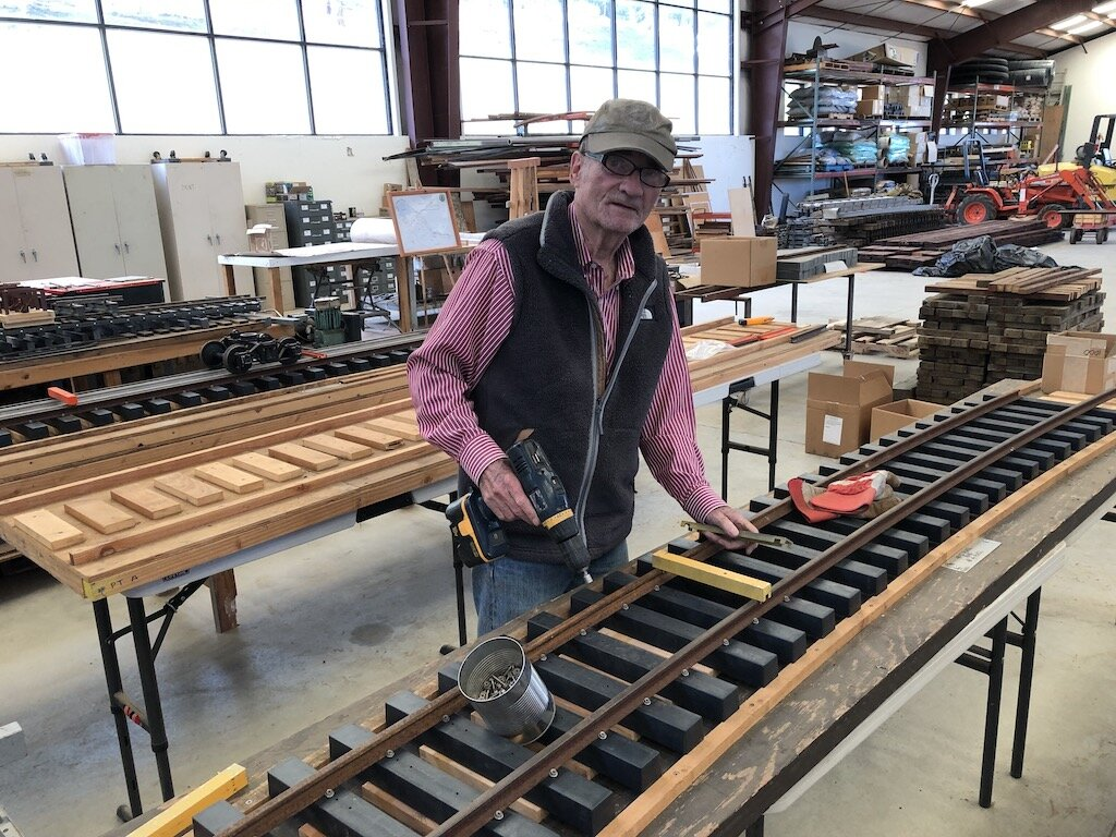Gil builds a track panel for the Lumber Camp Bridge