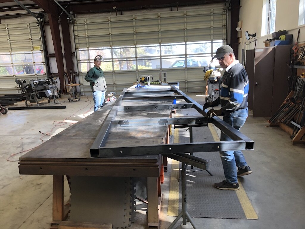 Laying out the steel for the last arch