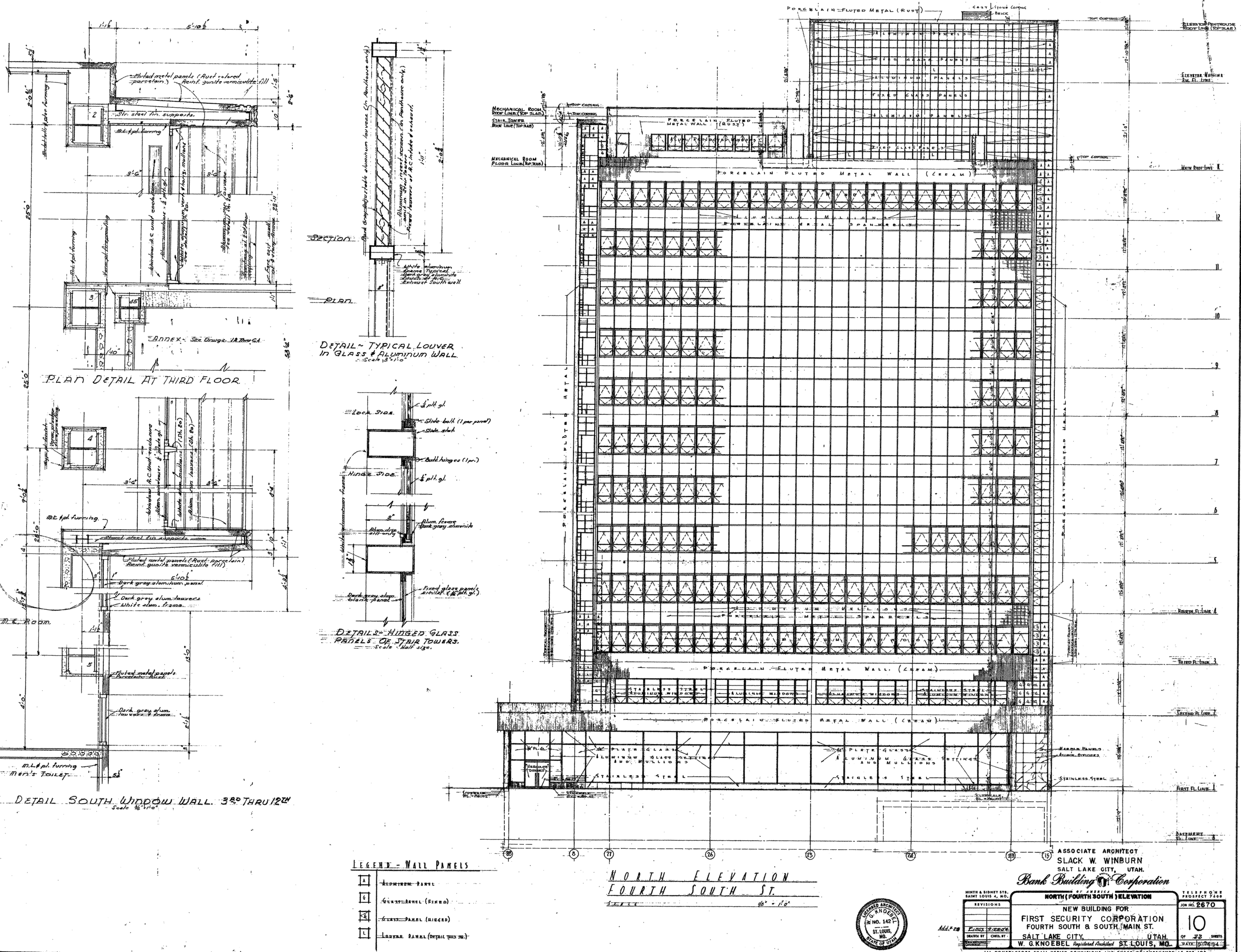 Original plan, First Security Bank Building, Salt Lake City, UT, 1955.
