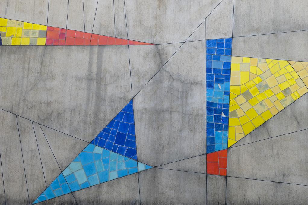 Mosaic tile artwork installed above Auditorium.