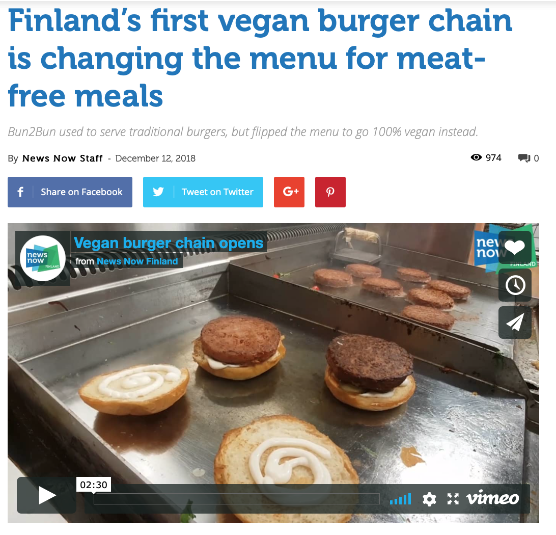 News Now Finland - http://newsnowfinland.fi/videos/finlands-first-vegan-burger-chain-is-changing-the-menu-for-meat-free-meals