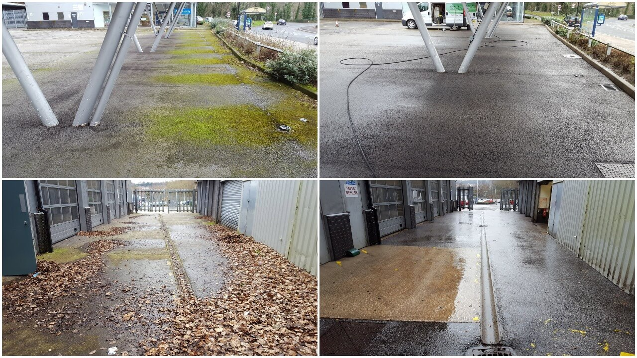 Commercial jet washing at a car dealership in Sheffield that had just been taken over by Stoneacre Motor Group and had to be jet washed and tidied up at short notice for the opening day.
